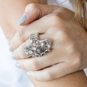 """Sparkle Splash"" - Smoky Moonstone Silver Ring"